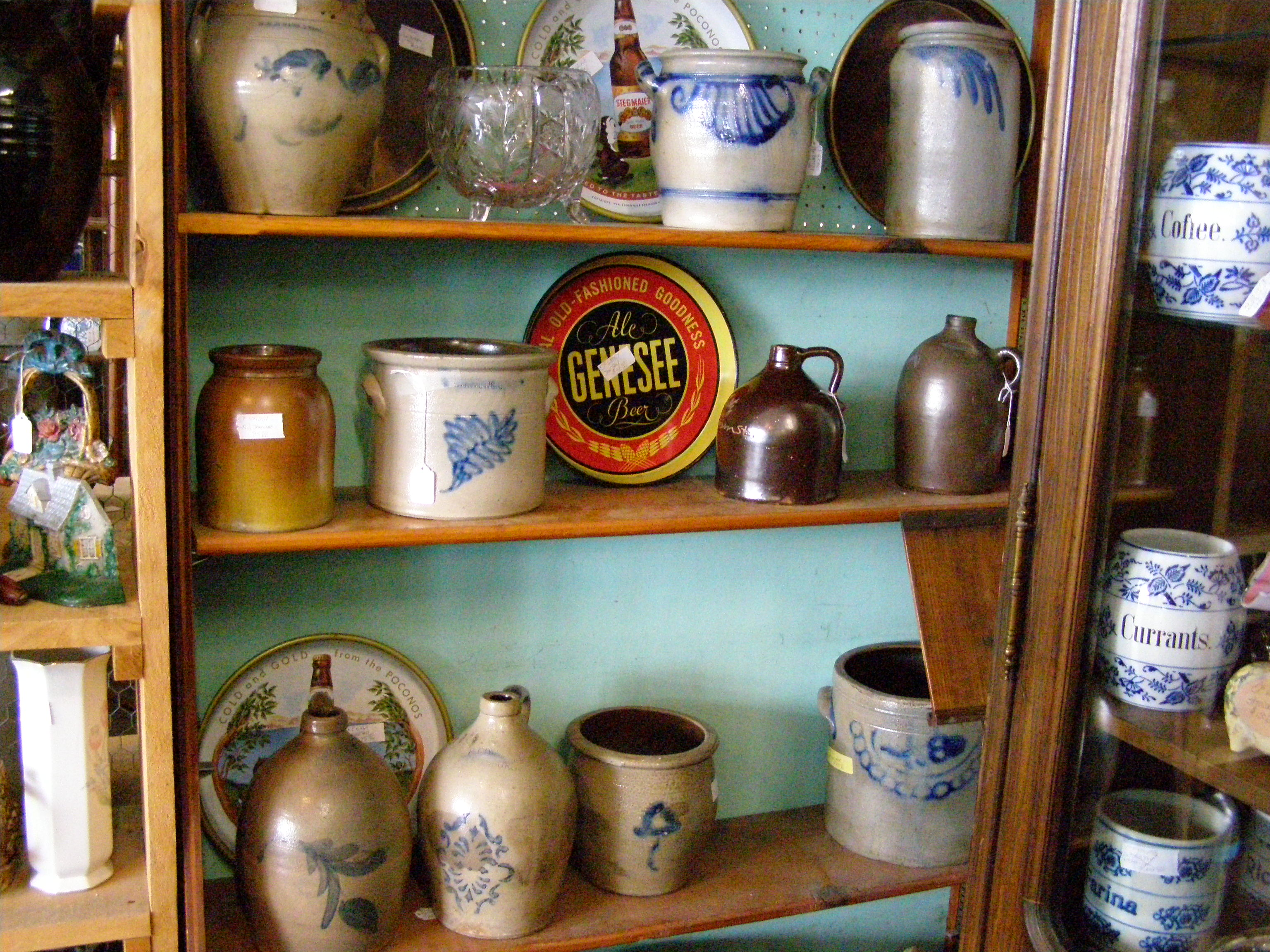 Brown and stone pottery with blue